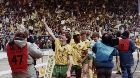 Canaries fans and players celebrating the Milk Cup final triumph of 1985 Picture: Archant Library