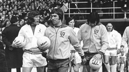 Duncan Forbes leading Norwich out at Wembley for the first time, in 1973 Picture: Archant library
