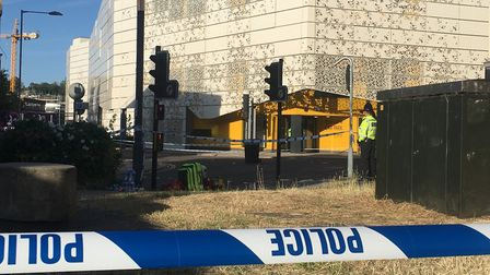 Rose Lane Car Park is sealed off after man was stabbed to death in what police are treated as murder