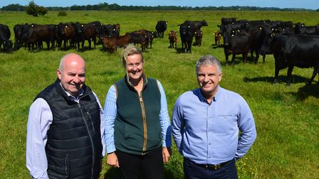 Beckhithe Farms at Reedham, which supplies beef to Waitrose. Pictured from left: Waitrose agricultur