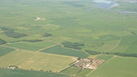 Aerial view of Beckhithe Farms at Reedham, and its surrounding grazing land. Picture Beckhithe Farms