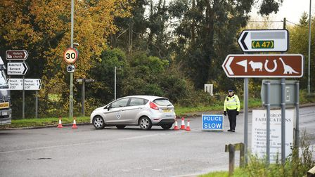A section of the A1067 was closed by Police, after a crash at Lenwade on November 13 last year. Pic