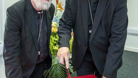 Former archbishop of Canterbury Rowan Williams and the bishop of Ely Rt Rev Stephen Conway at the op