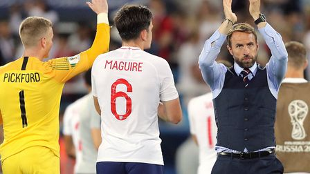 England manager Gareth Southgate applauds the England fans following his side's 1-0 loss to Belgium
