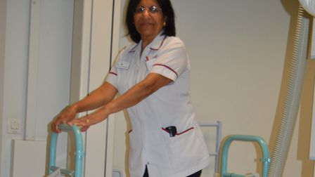 A member of NNUH staff demonstrates new radiology equipment. Photo: NNUH