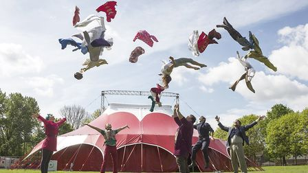 Norwich-based Lost in Translation Circus with their tent which they are bringing to Chapelfield Gard