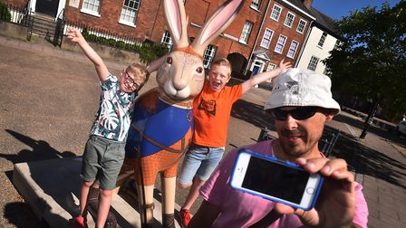 A busy first weekend for the GoGoHare trail. Steven Lovett taking a selfie with his sons Harry, 10,