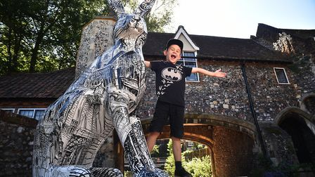 A busy first weekend for the GoGoHare trail. Pictured with The King of Scribble at Pulls Ferry is Er