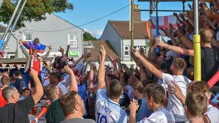 England fans at The Railway Tavern in Dereham during the England Tunisia World Cup match. Photo Scot