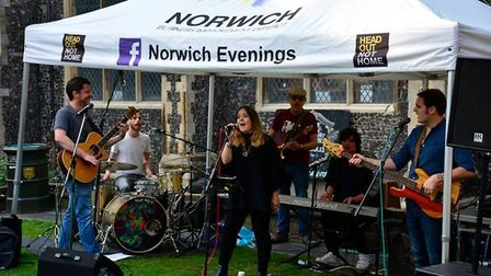 Performers at last year's Head Out Not Home street events, 2017. PHOTO: Norwich Business Improvement