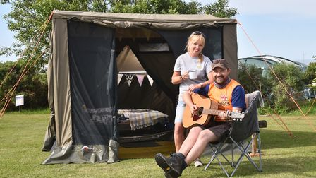 MarGins walking and glamping holidays. Gin Wilson-North with charity walker, musician and MarGins cu