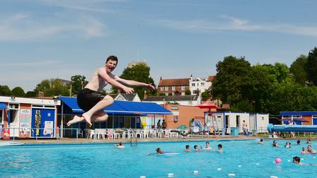 Youngsters enjoy swimming in Beccles Lido during the hot weather. Picture: Nick Butcher