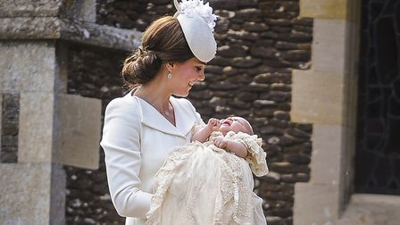 The christening of Princess Charlotte at Sandringham Church - the Duchess of Cambridge looks down at
