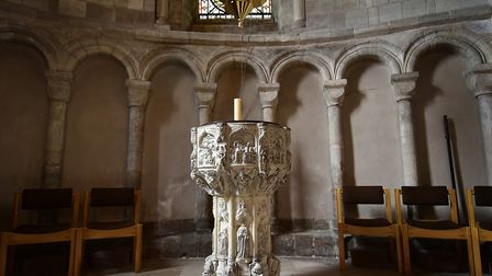 Seven Sacraments font in St Luke's Chapel at Norwich Cathedral. Picture: ANTONY KELLY