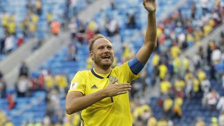 Andreas Granqvist waves to the fans after Sweden's 1-0 win over Switzerland in the last 16. Picture: