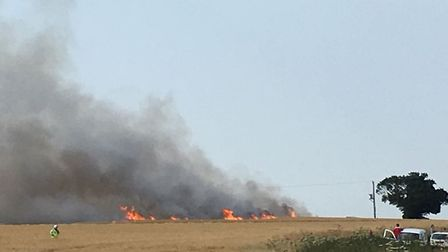 A field fire broke out in Lower Stow Bedon. Picture: Rae Griffith-Jones