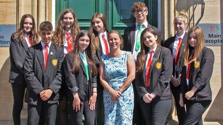 The student leadership team at Sewell Park Academy with principal Penny Bignell,. From left to right