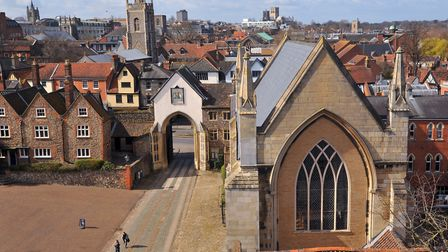 View of Erpingham Gate from the roof of Norwich Cathedral. Photo : Steve Adams