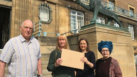 Ian Gibson, Pipa Clements, Gail Mayhew and Lili Premilovich deliver a petition over Anglia Square to