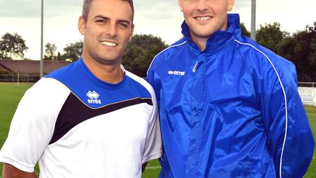 Jamie Godbold and Andy Reynolds after being appointed at Kirkley and Pakefield. Picture: mick Howes