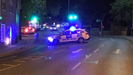 Police at the scene of an RTC in Cattle Market Street, where a pedestrian was hit by a car. Picture: