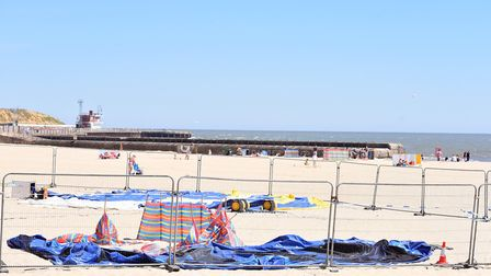 The scene at Gorleston beach where a young girl died whilst on an inflatable trampoline. Picture: Ni