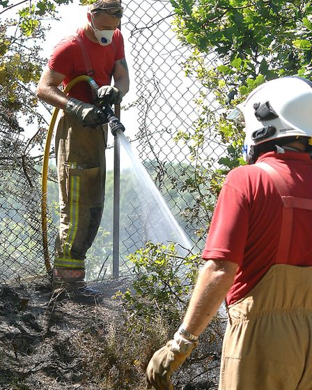 Firefighters at the scrub blaze Picture: Chris Bishop