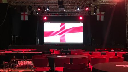 The scene at Open in Norwich where they are setting up for England's big match Picture: Open