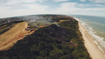 Smoke rising from the scene of the fire near Cromer Lighthouse. Picture: WILLIAM JARVIS