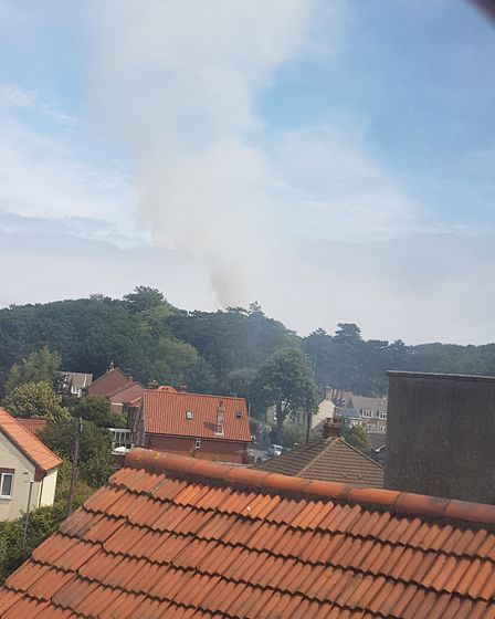 Smoke rising from the scene of the fire near Cromer Lighthouse. Picture: CORAL BANNING