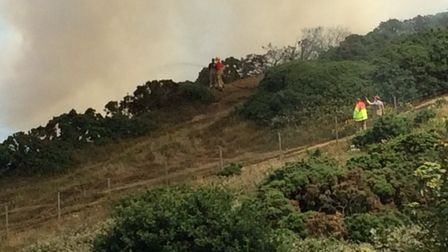 Fire on cliff near Cromer lighthouse. Pictures: David Bale