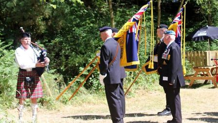 Lovat Scouts commemoration event. Norfolk Piper Dave Harper and Royal British Legion Flag Bearers. P