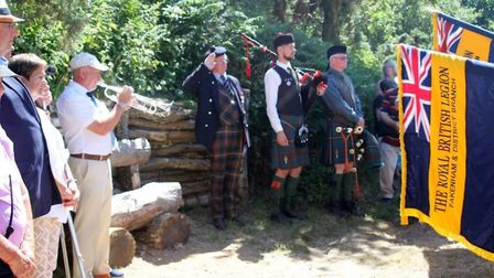 The Lovat Scouts commemoration event. Saluting is Grenville Johnston, the Lord Lieutenant of Moray a