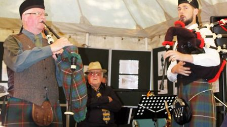 Lovat Scouts commoration event, The son and grandson of Lovat Scout piper Bill Millin, John and Jaco