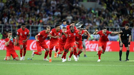 England celebrate winning the penalty shootout Picture: PA
