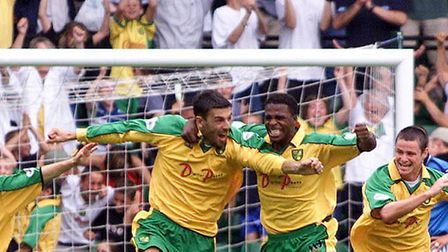 Marc Libbra celebrates his debut goal for Norwich City in August 2001 Photo: Gareth Fuller/PA