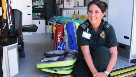 Emergency medical technician (EMT) Abigail Alderton, who was the first on the scene, with paramedic