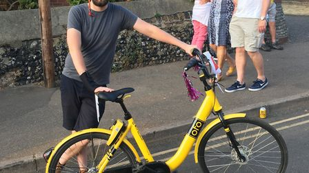 Charlie Haines cycled the Gas Hill Gasp on an Ofo bike for his stag do. Picture: Dominic Gilbert