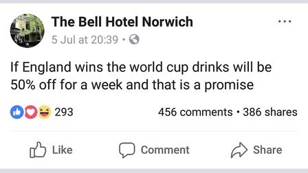The post from the Facebook account claiming to be the Bell Hotel (Image: Facebook)