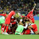 England celebrate after winning the FIFA World Cup 2018, round of 16 match at the Spartak Stadium, M