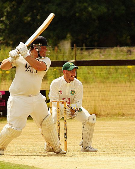 Matthew Collinge on his way to a half century for Norwich against Great Witchingham Picture: Tim Fer