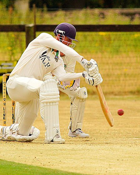 Jack Newby on his way to a century for Norwich against Great Witchingham Picture: Tim Ferley