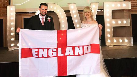 Amy and James Guymer arranged for the England match to be shown at their wedding at Amy and James Gu