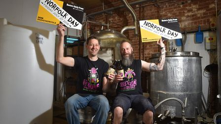 Wildcraft Brewery backing Norfolk Day with a new beer. Head brewer Mike Deal, left, with Carl Newell