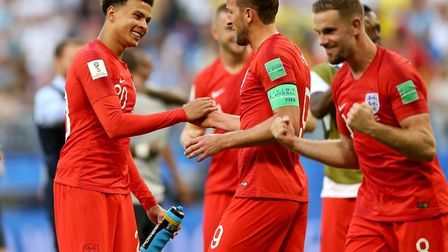 England's Dele Alli (left) and England's Harry Kane celebrate after the final whistle during the FIF