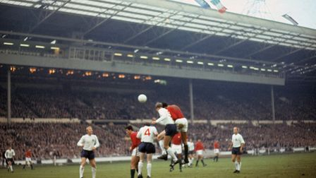 From left, Bobby Moore, Jose Augusto, Nobby Stiles. Jack Charlton and Josse Torres in action during