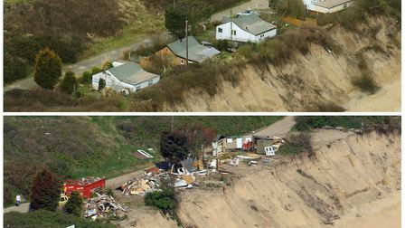Photos from pilot Mike Page show Hemsby's coast in March this year above and May below. Photo: Mike