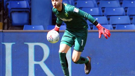 Angus Gunn impressed while on loan with the Canaries from Manchester City. Picture: Paul Chesterton/