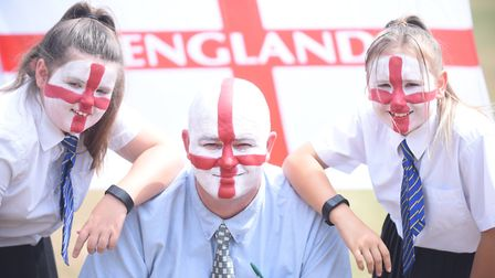 Howard Junior School pupils in Gaywood are celebrating England's progress at the World Cup. Pictured