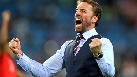 England manager Gareth Southgate celebrates after Colombia win. Picture Owen Humphreys/PA Wire.